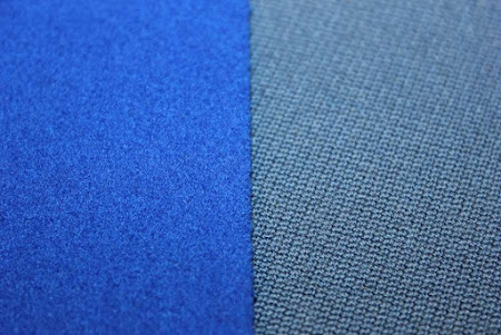 Close up comparison of English and American Pool Cloth