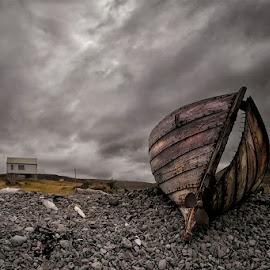 Cracked by Þorsteinn H. Ingibergsson - Transportation Boats ( clouds, iceland, sky, nature, wreck, structor, boat, landscape, abandoned )