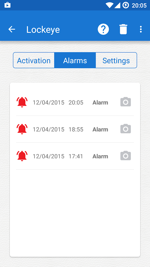Lockeye - Wrong password alarm- screenshot