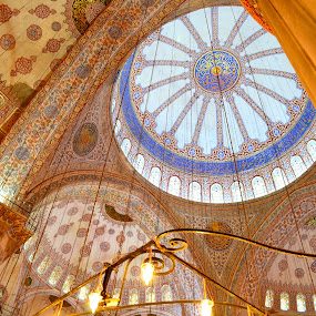 Inside the Blue Mosque by Robyn Vincent - Buildings & Architecture Architectural Detail ( beautiful architecture, religious art, blue mosque, mosaics, turkey, istanbul )