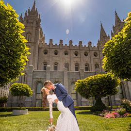 Beautiful Sunny Day by Glenn Pearson - Wedding Bride & Groom ( sunny wedding photo, slc temple, mormon wedding )