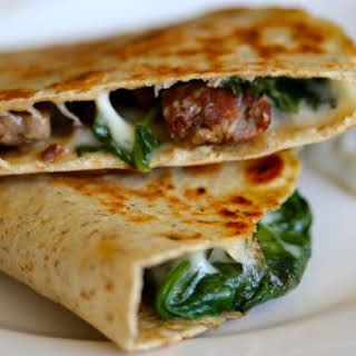 Leftover Steak and Spinach Quesadilla with Provolone.