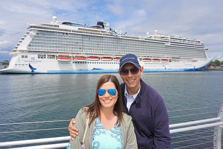 That's us in front of Norwegian Bliss during her inaugural sailing out of Seattle. We'll be back!