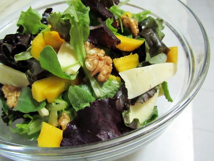 Mango, Apple, Walnuts, and Island Cheese Salad