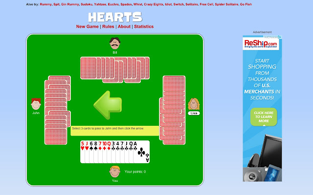 the classic cardgame hearts play against 3 computer players who can get the fewest hearts