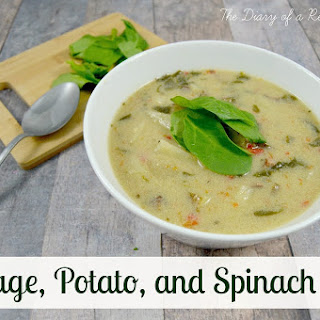 Slow-Cooker Sausage, Potato, and Spinach Soup