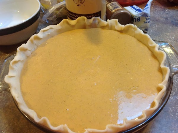 Pour mixture into prepared pie plate. Place in preheated 350 degree F. oven and...