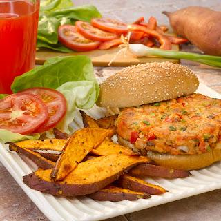 Salmon Burger with Sweet Potato Fries.