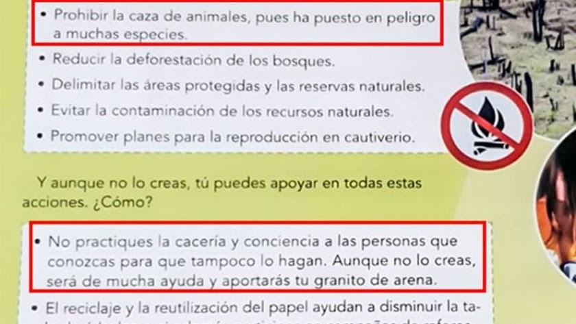 Página del libro de texto que habla de la caza.