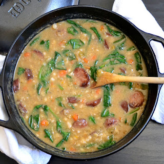 Navy Bean Soup With Sausage & Spinach