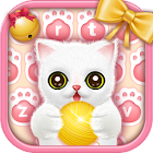 Pink lovely kitten keyboard icon