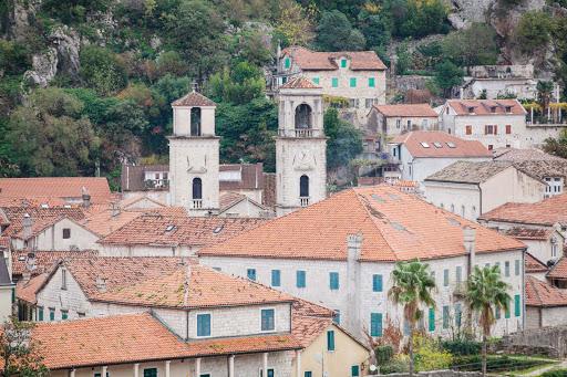 Kotor-church-steeples.jpg - Church steeples rise in Old Kotor, Montenegro.