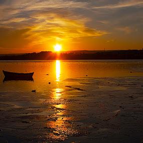 SILENCE OF GOLDEN  by Nihan Bayındır - Landscapes Sunsets & Sunrises ( reflection, ice, sunset, peace, lake, view, landscape,  )