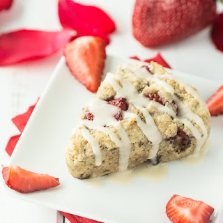 Vegan/Gluten Free Strawberries and Cream Scones with Vanilla Glaze