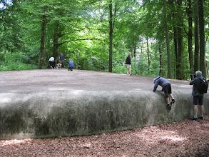 Photo: 'Grå mussla/Grey Clam', værk af Jene Highstein. Stort beton-projekt. Leger med ideen om hvilke elementer der tilladt i en smuk park. Nogle beskuere bliver intimiderede, andre tiltrukket, børn elsker som regel at bestige den ogløbe rundt