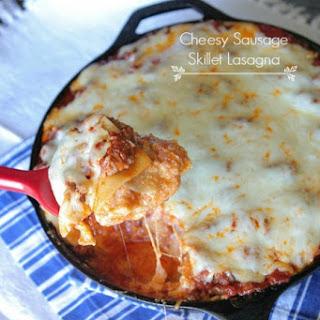 Cheesy Sausage Skillet Lasagna.