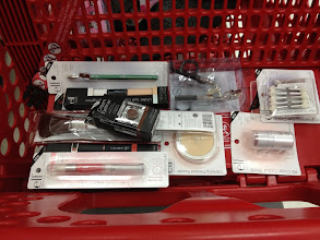 Photo: My pile'o'makeup in the cart. I would have bought even more eye makeup if there had been trendier colors. And I was sad not to see nail polish in store.