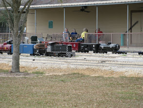 Photo: Parked trains and train watchers