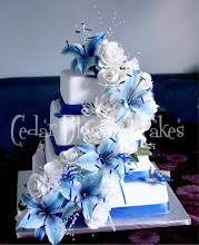 Photo: Blue lilies and white rose wedding cake by OzGirl (5/31/2012) View cake details here: http://cakesdecor.com/cakes/16951