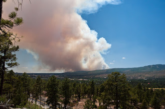 Photo: The Las Conchas fire started around 1:00 PM on June 26, 2011. One and three-quarter hours later, it did not seem a threat. Pajarito mountain is seen on the right.