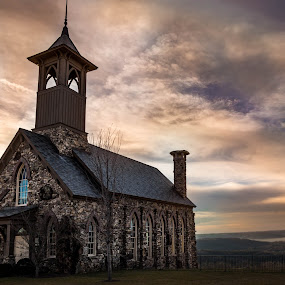Chapel by Dougetta Nuneviller - Buildings & Architecture Places of Worship ( water, building, missouri, sky, church, sunset, beautiful, stone, ozarks, chapel, worship )