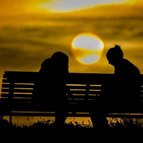 sharing secrets by Cretu Stefan Daniel - People Fine Art ( water, sharing, secrets, sunset, night )