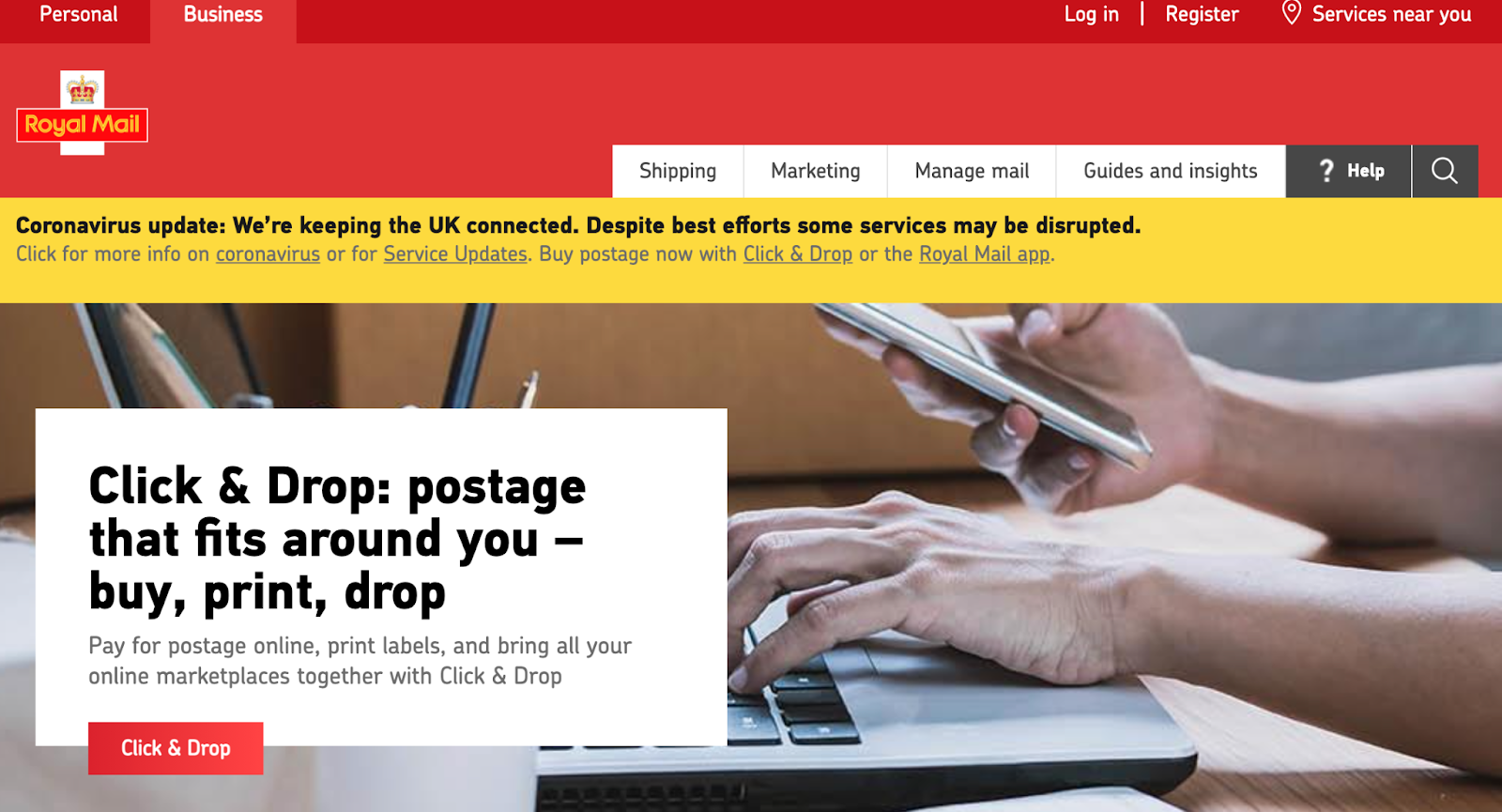 UK Royal Mail screenshot