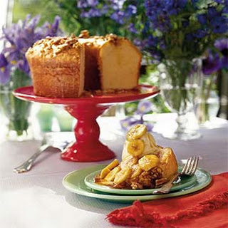 Buttered Rum Pound Cake with Bananas Foster Sauce.