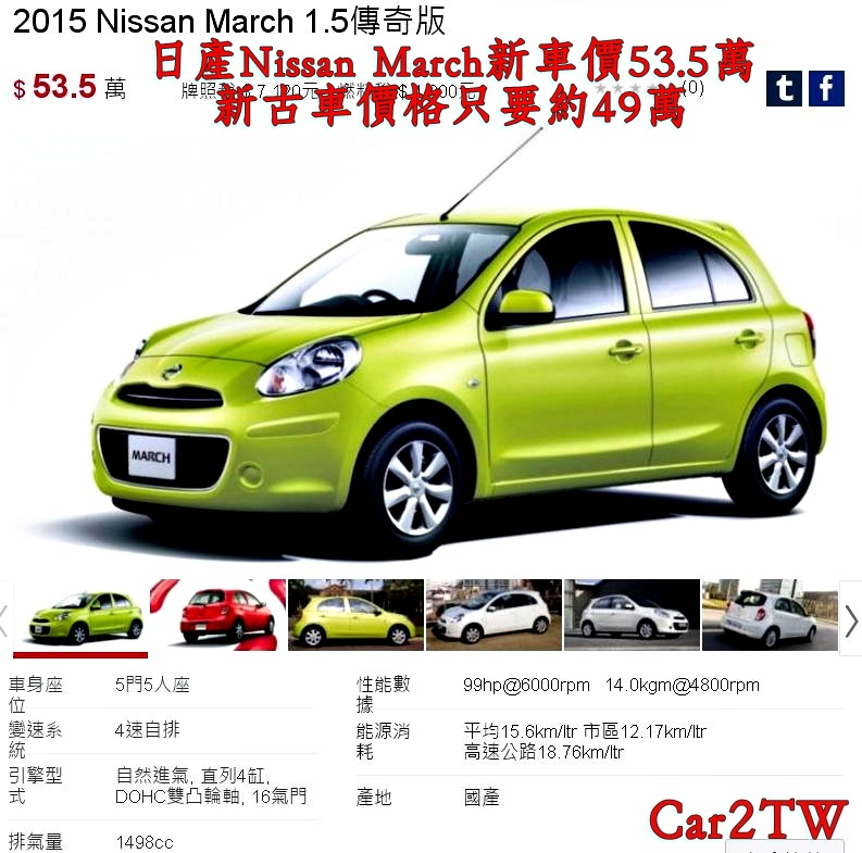 全新日產Nissan March新車售價53.5萬,新古車價格只要約49萬