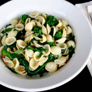 Orecchiette with Broccoli Rabe, Red Pepper Flakes, and Anchovies.