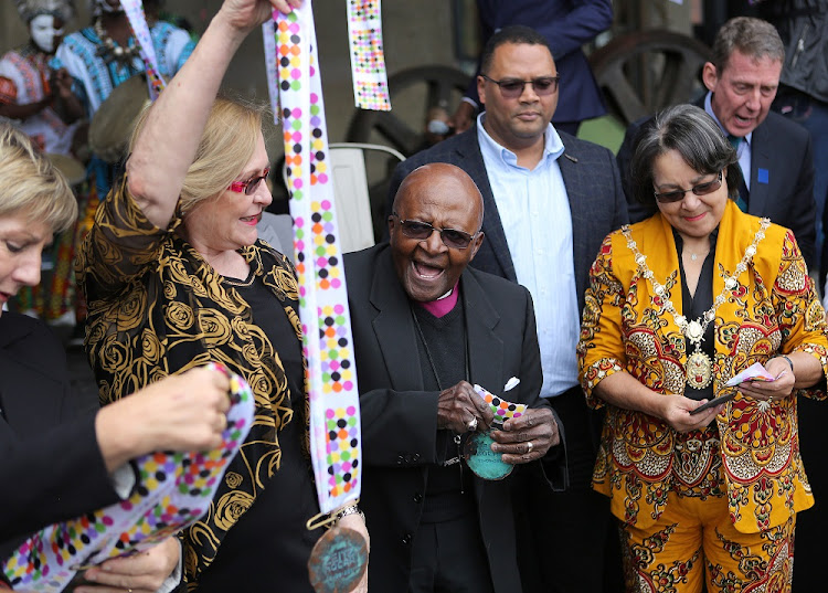 Left to right: Helen Zille, Desmond Tutu and Patricia de Lille at the opening of MOCAA museum in Cape Town.    Picture: RUVAN BOSHOFF