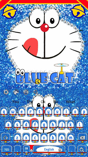 Kawaii Blue Cat Diamond Keyboard 10001001 screenshots 4