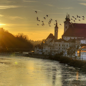 Sunset in Steyr by Michel Andries - Landscapes Sunsets & Sunrises ( sunset, enns river, old master style, upper austria, steyr )