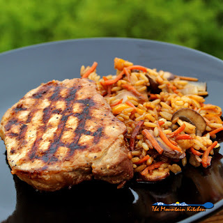 Grilled Teriyaki Pork Chops with Stir Fried Vegetables and Rice