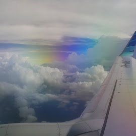 Wing and Clouds by Ahmad Irfan - Transportation Airplanes ( cloudscape, clouds, window, transportation )