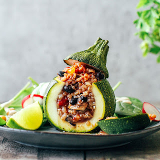 Three-Grain Enchilada Stuffed Zucchini.