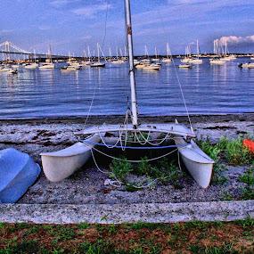 Waiting by Richard Moyen - Landscapes Waterscapes ( water, sailing, sail, bridge, boat )