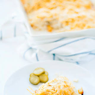 Cheesy French Fry Casserole With Chicken.
