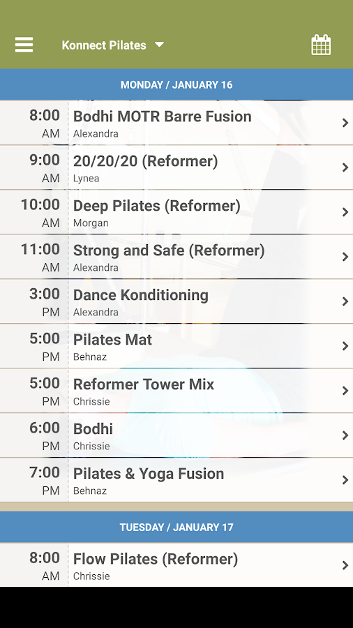 Konnect Pilates- screenshot
