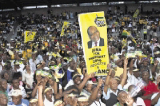 JUBILATION:ANC supporters gathered at Curries Fountain to celebrate Monday's dropping of charges against Jacob Zuma. 07/04/09. Pic. Thuli Dlamini. © Sowetan.