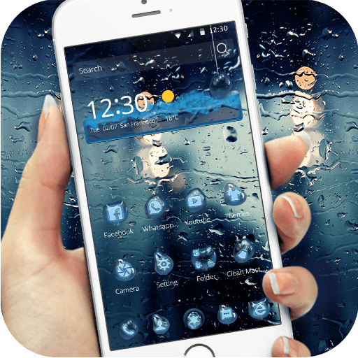 Blue water droplets theme