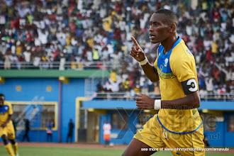Photo: Jean-Baptiste MUGIRANEZA celebrates making it 5-0 for Rwanda [Rwanda v Mauritius, AFCON 2017 Qualifier, 29 March 2016 in Kigali, Rwanda.  Photo © Darren McKinstry 2016, www.XtraTimeSports.net]