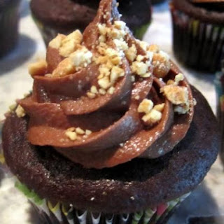 Overnight Whole-Wheat Chocolate Cupcakes with Peanut Butter Filling and Chocolate-Peanut Butter Frosting.