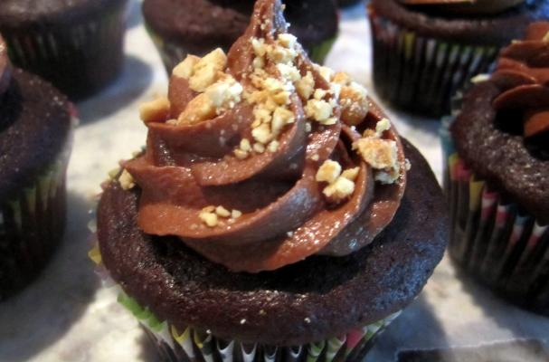 Overnight Whole-Wheat Chocolate Cupcakes with Peanut Butter Filling and Chocolate-Peanut Butter Frosting Recipe