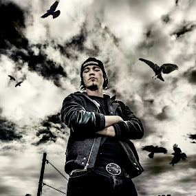 The Raven by Kevin Kent - People Portraits of Men ( canon, hdr, 60d, gritty, portrait, kevin, hat, bird, raven, dark, clarity, sureeal, photoshop )