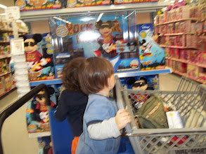 Photo: My boys love pushing buttons in the toy aisle, unfortunately, Mickey did not work.