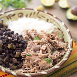 Slow Cooker Cuban Pork with Black Beans and Rice.