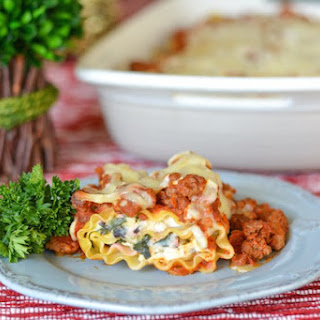 Spinach Lasagna Rolls with Easy Meat Sauce.
