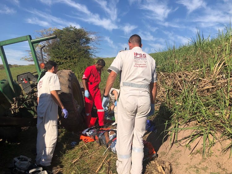 IPSS Medical Rescue paramedics treat a critically injured farm worker who was crushed by a rolling trailer on 13 July 2018.