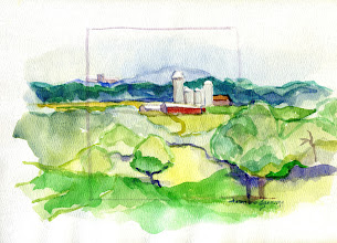 Photo: 1999 View east from Hwy. 18. Dodgeville, WI. Watercolor. Collection of Laura and Dan Douglas.